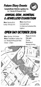 Map for the Biannual Open Day Trash and Treasure Lapidary Market