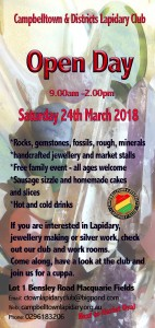 Flyer for the Campbelltown Lapidary Club Open Day March 24th Saturday 2018